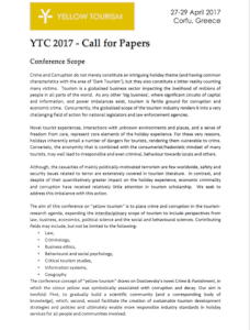 Yellow Tourism Conference 2017 - 2nd Call for Papers and Dealine Extension